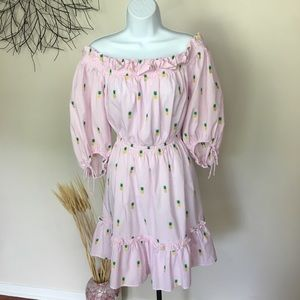 KATE SPADE off shoulder pineapple dress. Pink